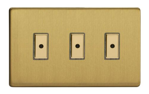 Varilight JDBE103S Screwless Brushed Brass 3 Gang V-Pro Remote/Touch Master LED Dimmer 0-100W